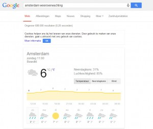Google weersverwachting