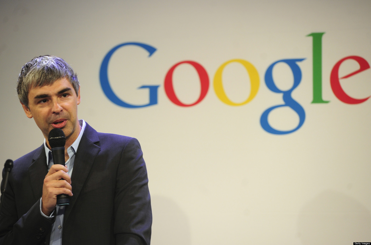 Google CEO Larry Page holds a press annoucement at Google headquarters in New York on May 21, 2012. Google announced that it will allocate 22,000 square feet of its New York headquarters to CornellNYC Tech university, free of charge for five years and six month or until the university completes its campus in New York. AFP PHOTO/Emmanuel Dunand (Photo credit should read EMMANUEL DUNAND/AFP/GettyImages)